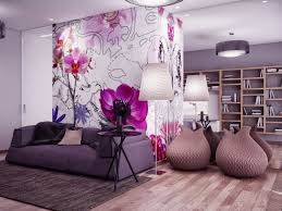 soft lavender purple living room with floral wallpaper with dark