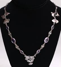 design sterling silver necklace images Arts crafts ginkgo leaf amethyst sterling silver necklace jpg