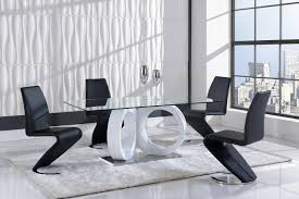 global furniture d9002 7 piece dining room set in white black by