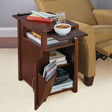 swing table for recliner the easy access recliner side table hammacher schlemmer