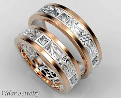 custom wedding bands princess cut diamond matching wedding ring set vidar jewelry