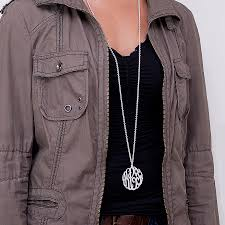 2 inch monogram necklace silver 2 monogram necklace with 40 rollo chain
