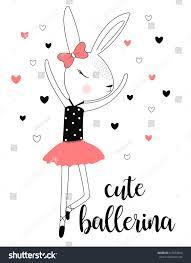 cute ballerina rabbit illustration vector print stock vector