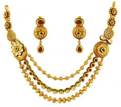 gold antique necklace sets images Antique layered gold necklace set ajns60039 22k gold antique jpg