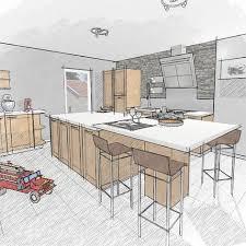 conception de cuisine dessin de cuisine rendu crayonné kitchen design conception