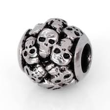 stainless steel skull bead skull charm perfect for halloween fits