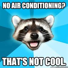 Air Conditioning Meme - no air conditioning that s not cool lame pun raccoon quickmeme