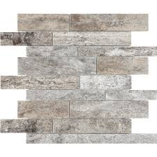 Travertine Tile For Backsplash In Kitchen Anatolia Tile Silver Ash Linear Mosaic Travertine Wall Tile