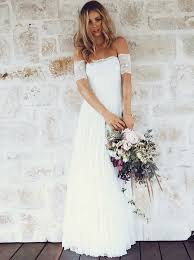 wedding dress lace buy a line the shoulder sleeves lace boho wedding dress