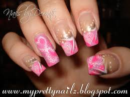 pretty in pink valentine u0027s day hearts french tips nail art design
