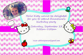 Hello Kitty Birthday Invitation Card Peahen Pad Hello Kitty 4th Birthday