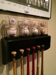 Baseball Bat Wall Mount Homemade Bat Rack With Baseball Display Shelf Diy Baseball Bat