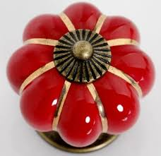 Red Kitchen Cabinet Knobs Pulls Handles Ceramic  Dresser Knob - Red kitchen cabinet knobs