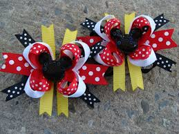 2 small hair bows mickey mouse hair bow minnie mouse hair bow