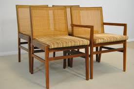 set of four 4 danish modern teak dining room chairs w cane back