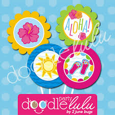 Tropical Themed Party Decorations - luau party circles for cupcake toppers luau party decorations