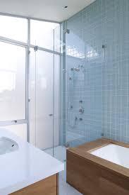 Blue Glass Tile Bathroom - san francisco blue glass tile bathroom modern with double shower