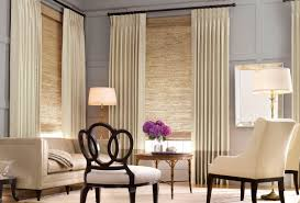 interior bow window treatment ideas with rectangle wooden tble