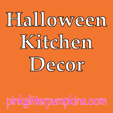 halloween kitchen decor u2014 pink glitter pumpkins