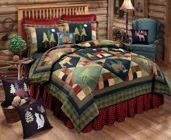 timberline full queen quilt set lodge moose bear cabin pine