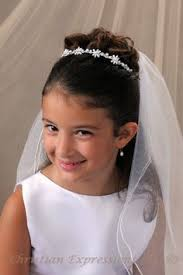 image result for communion hair with veil and flowers hair