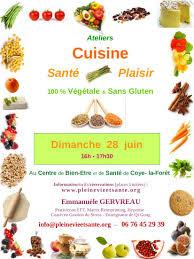 cuisine et santé atelier cuisine santé 100 végétale et sans gluten dimanche 28 juin