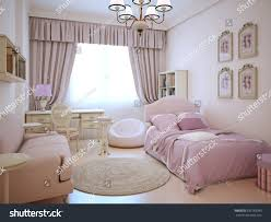 Large Bed Pillows Urban Apartment Cute Pink Girls Room Stock Illustration 332783993