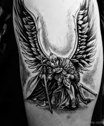 black white open winged protector guardian with sword