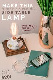 Diy Side Table Make This Super Simple Diy Side Table Lamp With Phone Charging