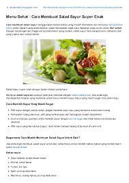 cara membuat salad sayur atau buah membuat menu makanan sehat salad sayuran