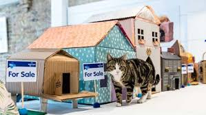 how to make a cosy cardboard cat house bt
