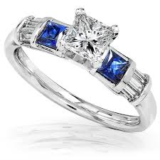 blue and white engagement rings blue sapphire engagement ring 1 1 5 carat ctw in 14k