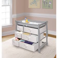 Changing Table Basket Badger Basket Sleigh Style Changing Table With Six Baskets Gray