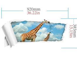 Giraffe Floor L Cloudy Removable 3d Floor Decal Giraffe Wall Sticker Rosegal