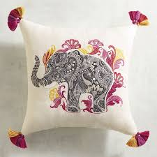 Pier One Pillows And Cushions Elephant Embroidered Pillow Pier 1 Imports