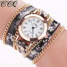 quartz bracelet wrist watches images Ccq new fashion women flower watch casual leather bracelet jpg