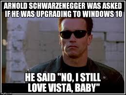 Arnold Schwarzenegger Memes - i still love vista baby imgflip
