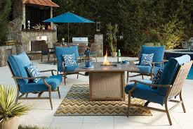 blue and beige outdoor motion loveseat set of 2