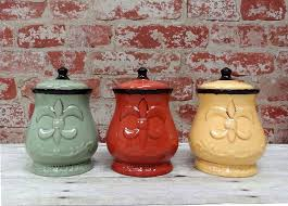 Fleur De Lis Canisters For The Kitchen by Amazon Com Tuscany Colorful Hand Painted Fleur De Lis 7
