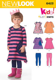 new look 6423 toddlers knit dresses and