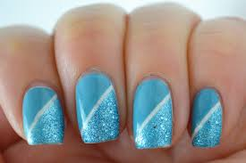 glitter and gloss nails two tone blue liquid sand