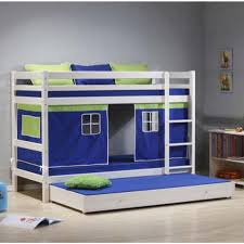 Thuka Bunk Beds Thuka Minnie Solid Pine White Bunk Bed With Blue Tent And Trundle
