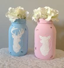 buck or doe painted mason jars gender reveal party centerpiece