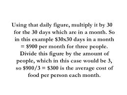 average cost of food average cost of food per month