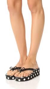 kate spade new york rhett wedge flip flops black women shoes