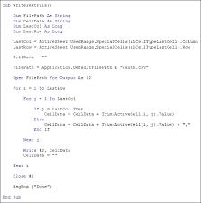 excel vba programming write to a text file