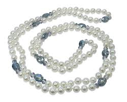man pearl necklace images Man made white shell pearl necklace w blue crystal accents gif