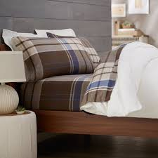 Bedside Table Lamp by Bedroom Decorative Plaid Flannel Sheets With White Cushions And