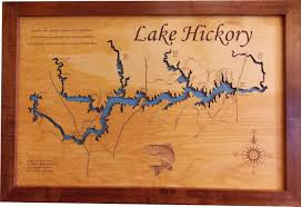 wood laser cut map of lake hickory nc topographical engraved