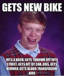 The Rock Meme Car - gets new bike hits a rock gets thrown off into street gets hit by